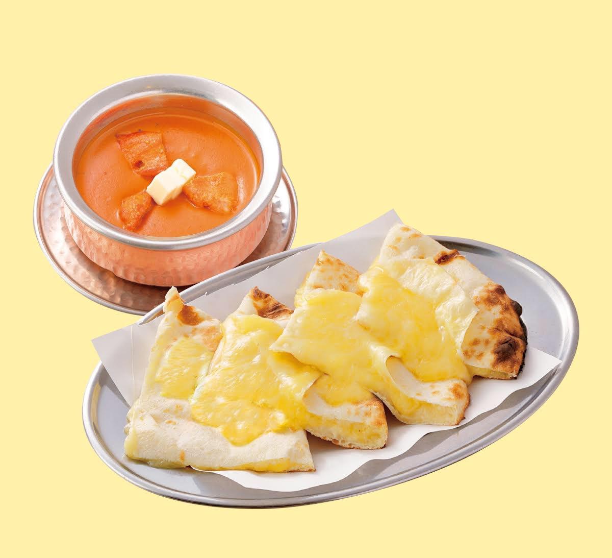 インドバターチキンカレーチーズナンセット